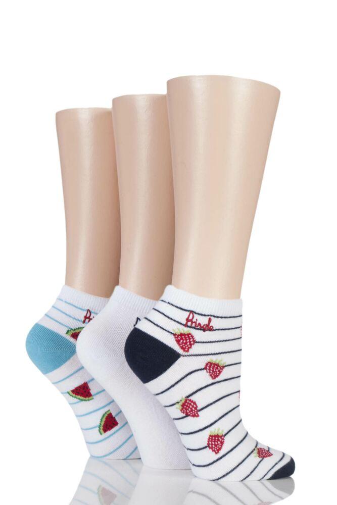 Ladies 3 Pair Pringle Ellen Striped Fruit Cotton Secret Socks