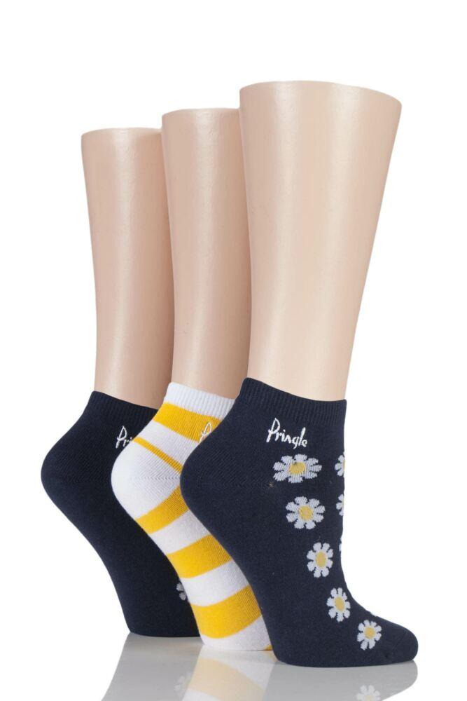 Ladies 3 Pair Pringle Daisy Patterned Cotton Secret Socks