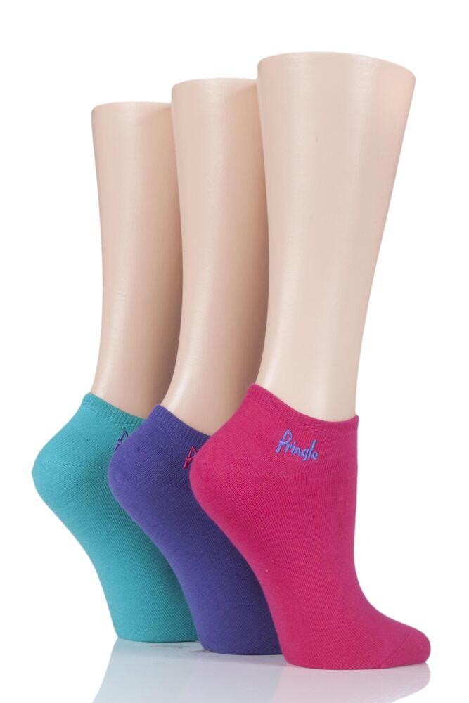 Ladies 3 Pair Pringle Leela Plain Secret Socks