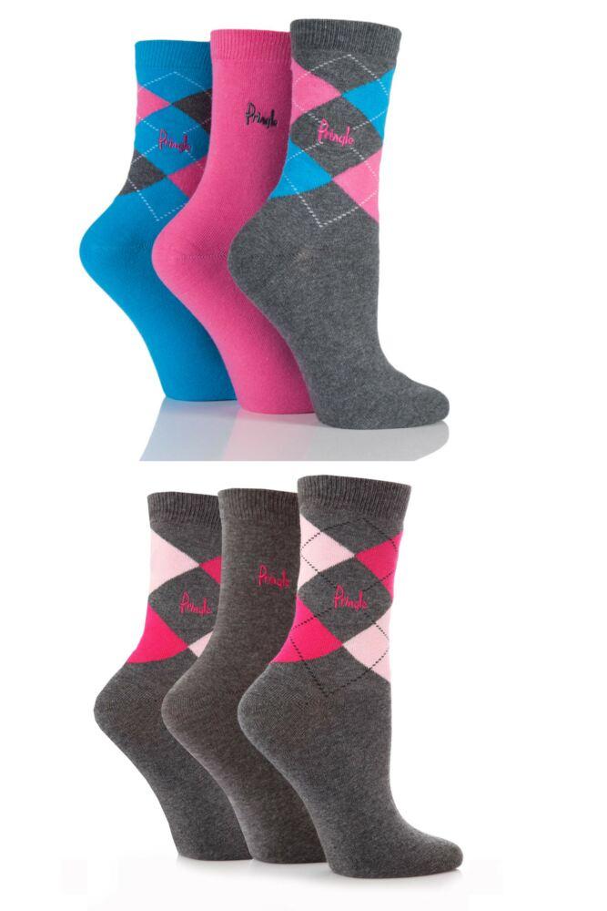 Ladies 6 Pair Pringle Louise Argyle Cotton Socks