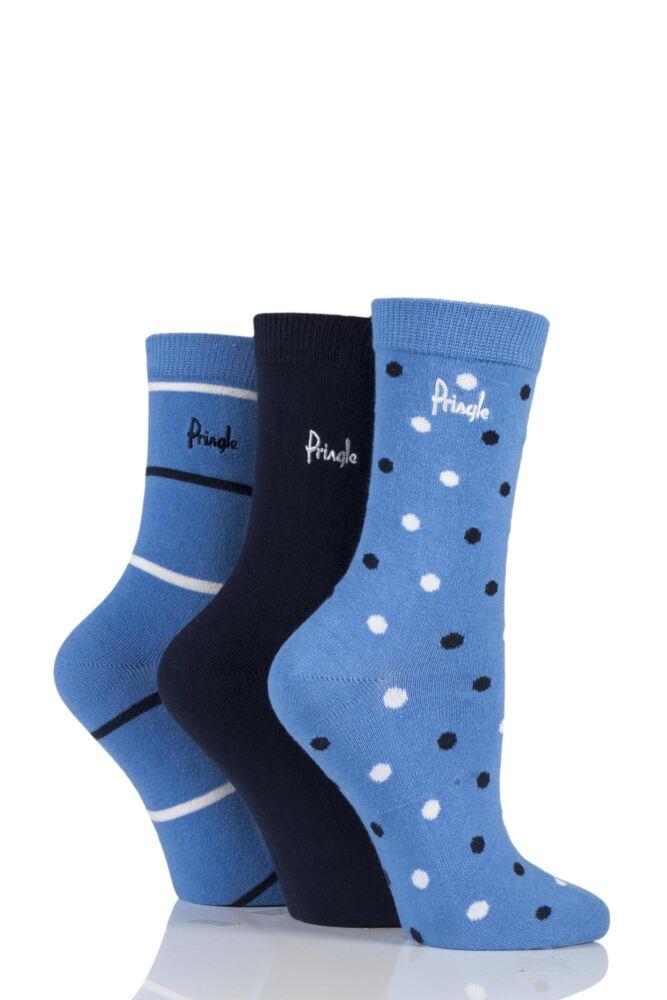 Ladies 3 Pair Pringle Sharon Spot Stripe and Plain Cotton Socks