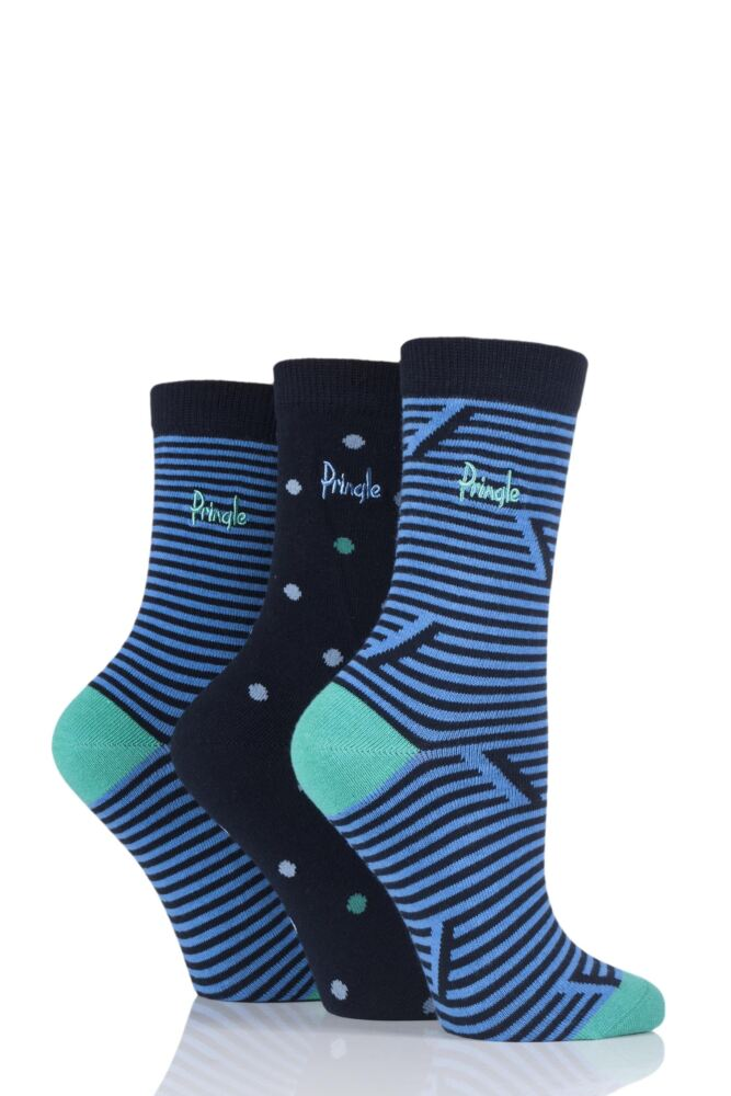 Ladies 3 Pair Pringle Victoria Stripes and Dots Cotton Socks
