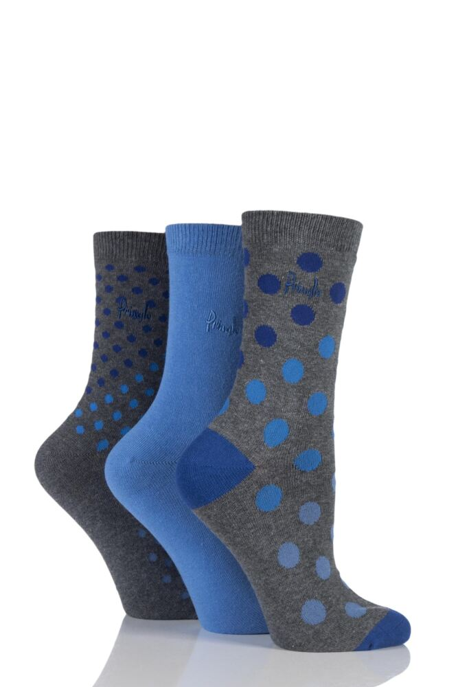 Ladies 3 Pair Pringle Olivia Graded Spotty Cotton Socks