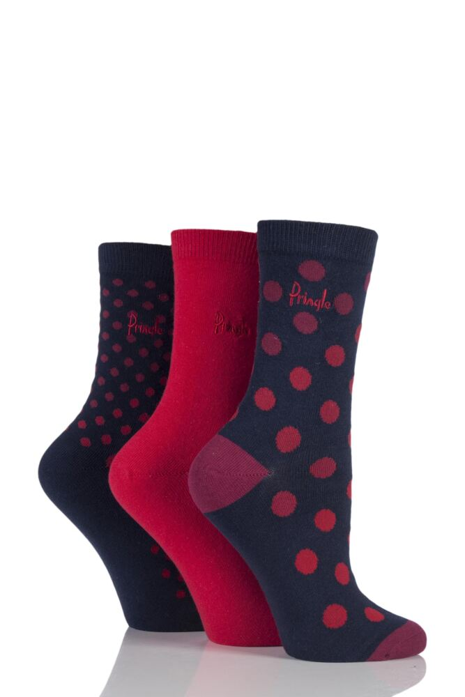 Ladies 3 Pair Pringle Olivia Graded Spotty Cotton Socks