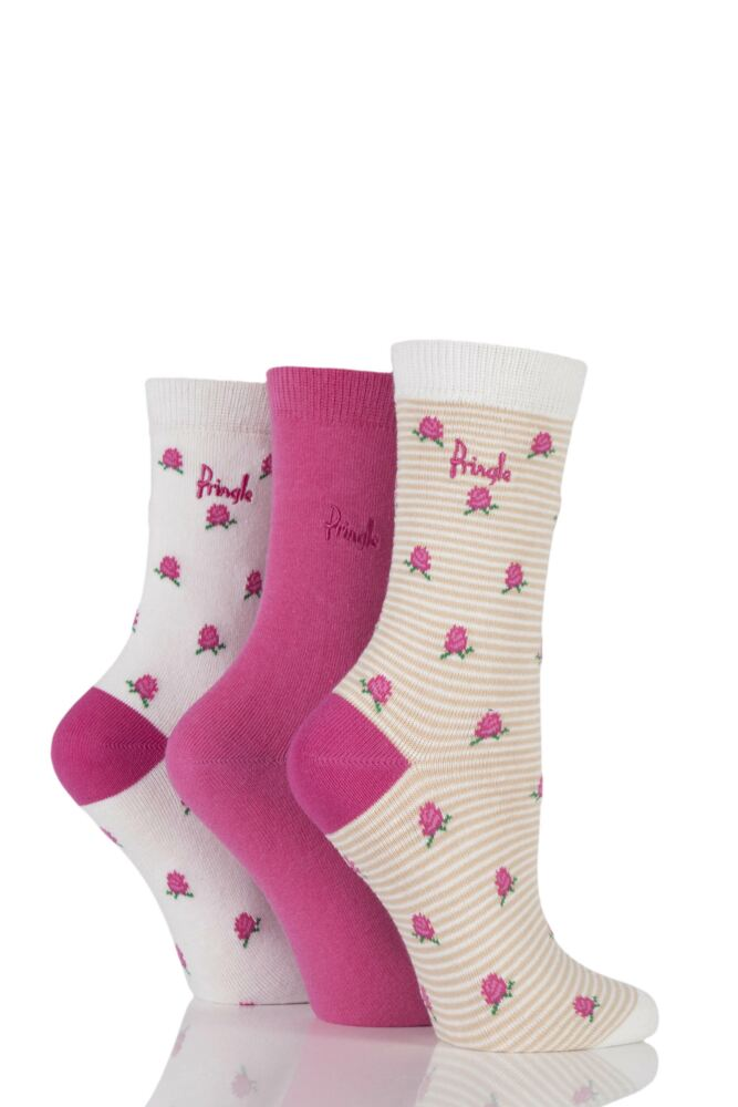 Ladies 3 Pair Pringle Ava Roses and Striped Patterned Cotton Socks