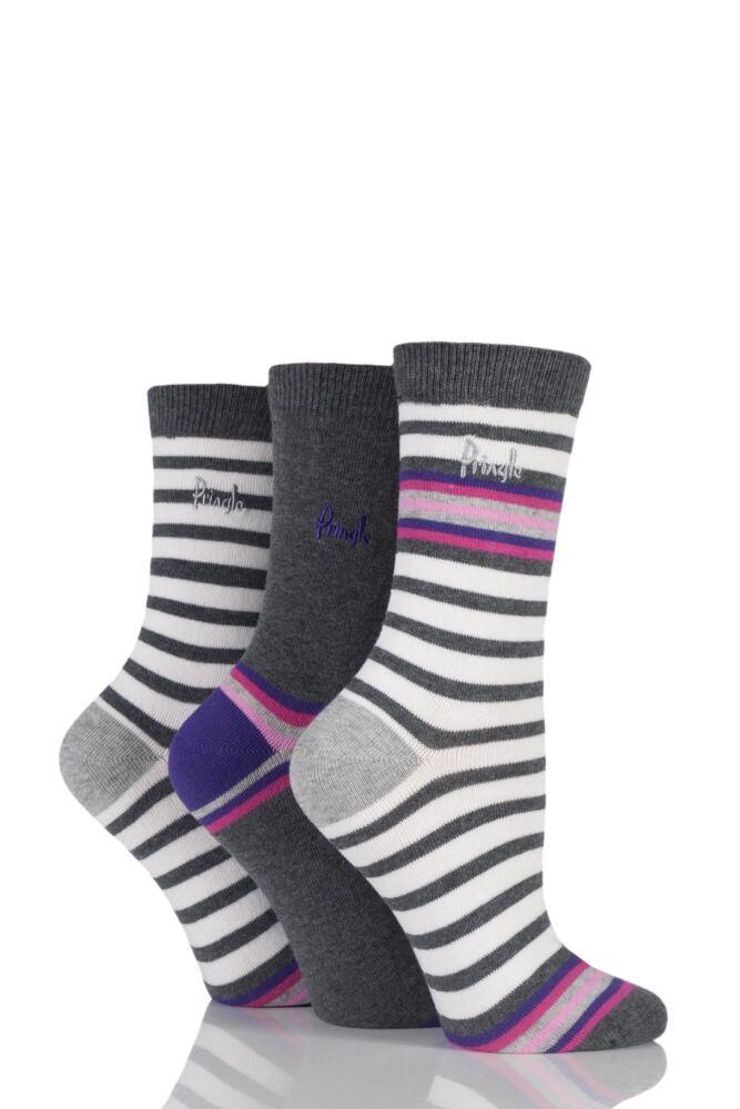 Ladies 3 Pair Pringle Isabella Striped Cotton Socks