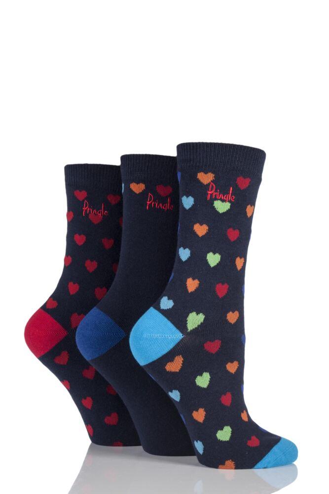 Ladies 3 Pair Pringle Rosie Heart Patterned Cotton Socks
