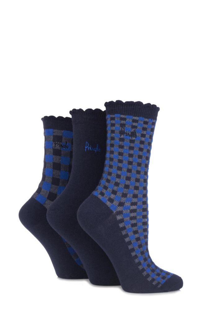 Ladies 3 Pair Pringle Loral Plain and Chequered Cotton Socks