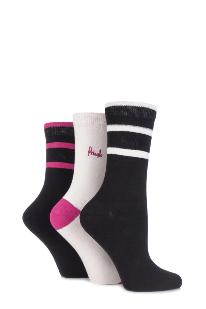 Ladies 3 Pair Pringle Lucinda Plain and Semi Striped Cotton Socks