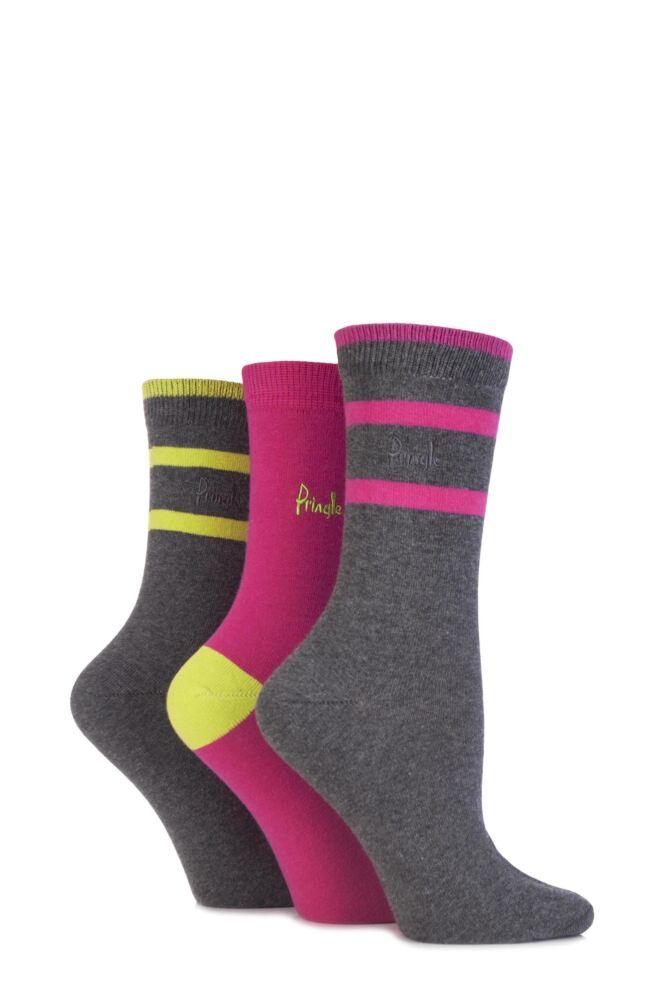 Ladies 3 Pair Pringle Lucinda Plain and Semi Striped Cotton Socks