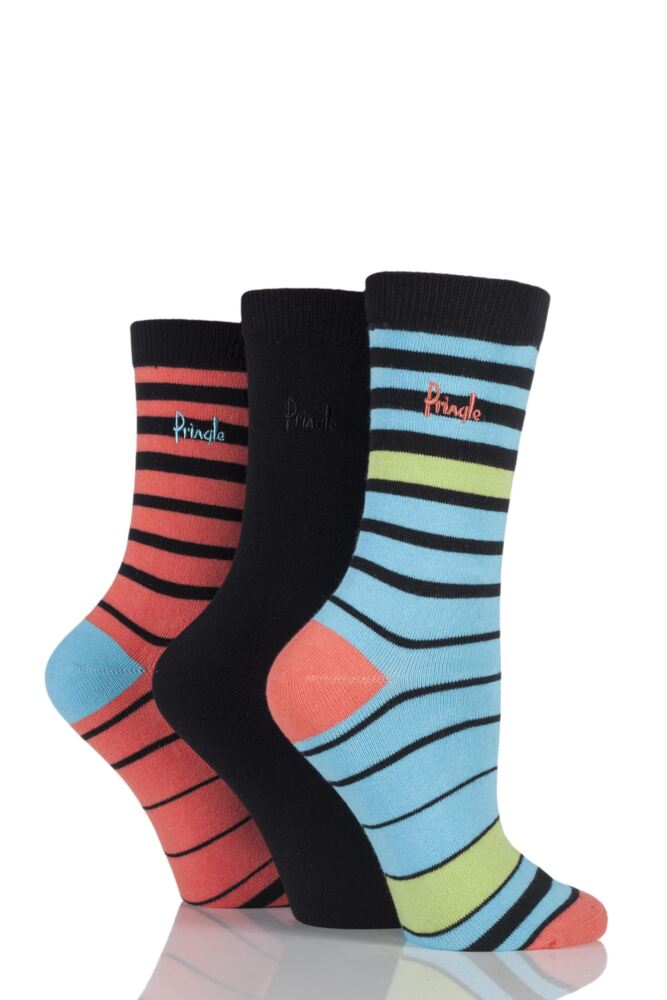 Ladies 3 Pair Pringle Georgina Graded Striped Cotton Socks