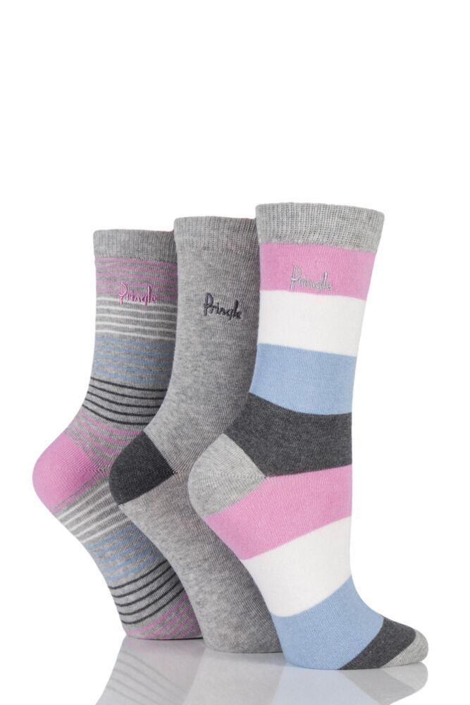 Ladies 3 Pair Pringle Megan Plain and Mixed Striped Cotton Socks