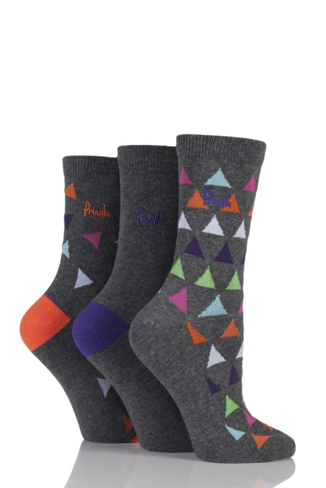Ladies 3 Pair Pringle Leah Plain and Triangle Patterned Cotton Socks