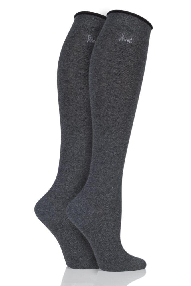 Ladies 2 Pair Pringle Hannah Contrast Cuff Knee High Socks