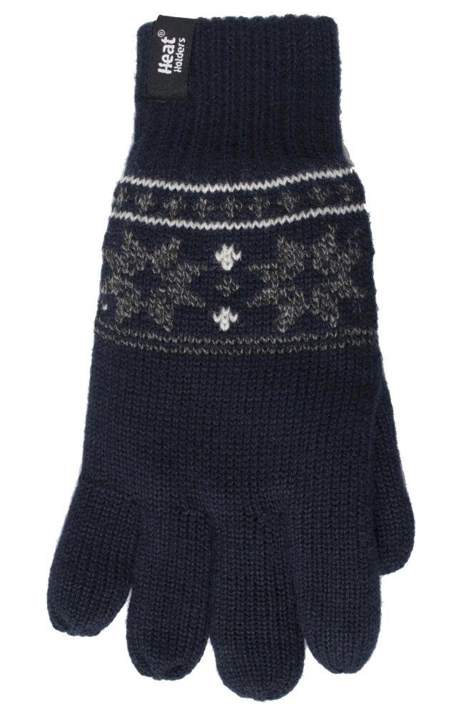Heat Holders 2.3 Tog Fairisle Gloves In Navy | SockShop