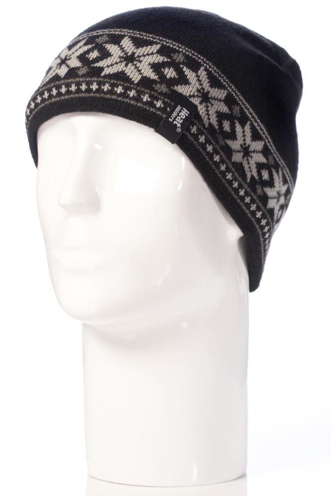 Mens 1 Pack Heat Holders 3.4 Tog Fairisle Hat In Black
