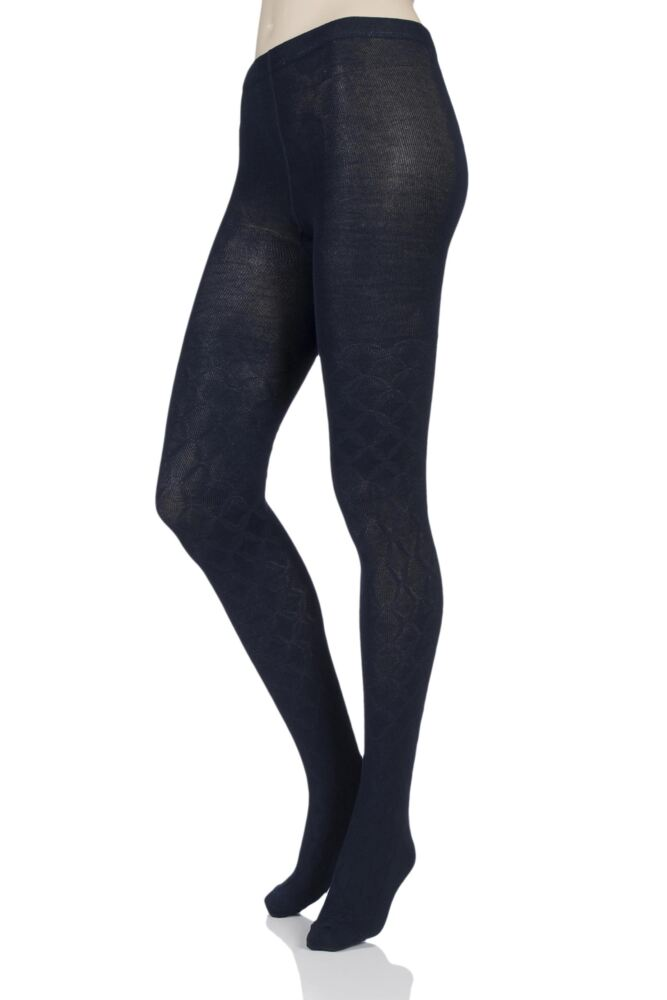 Ladies 1 Pair Elle Diamond Tile Patterned Tights