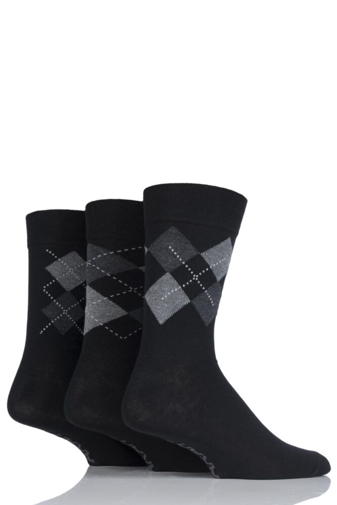 Mens 3 Pair Farah Classic Deluxe Argyle Cotton Socks