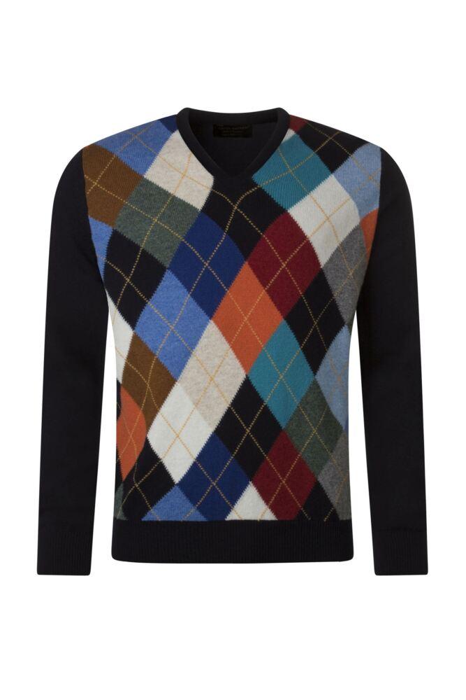 Mens Great & British Knitwear 100% Lambswool Argyle V Neck Jumper