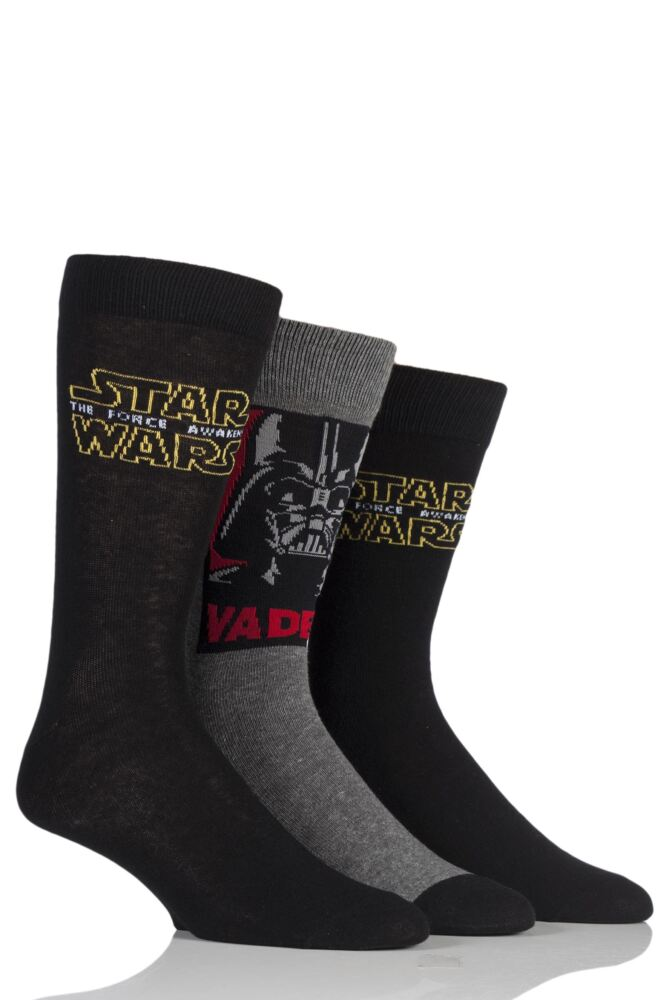 Mens 3 Pair SockShop Star Wars Logo and Darth Vader Socks