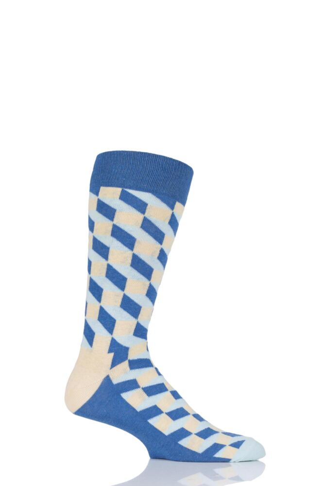 Mens and Ladies 1 Pair Happy Socks Filled Optic Combed Cotton Socks
