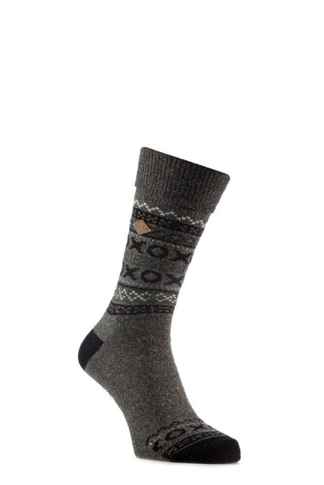 Mens 1 Pair Farah 1920 Wool Mix Fairisle Boot Socks with Turn Over Top