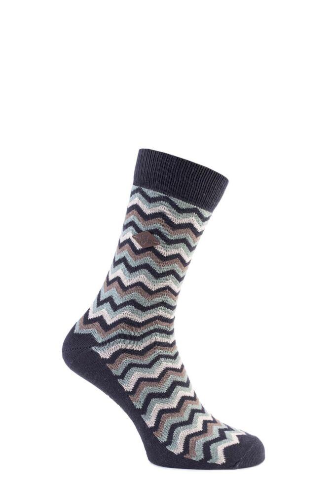 Mens 1 Pair Farah 1920 Zig Zag Cotton Socks 75% OFF