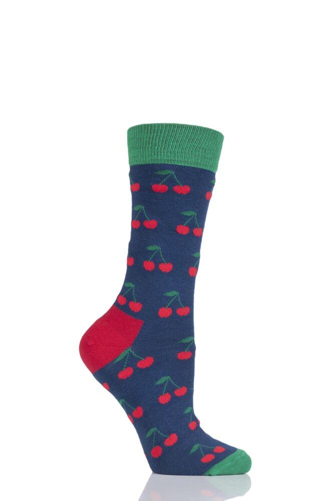 Ladies 1 Pair Moustard Fruit Design Socks - Cherry