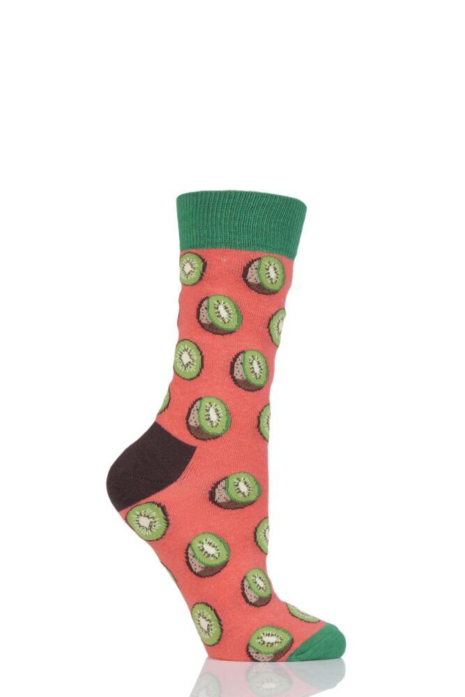 Ladies 1 Pair Moustard Fruit Design Socks - Kiwi