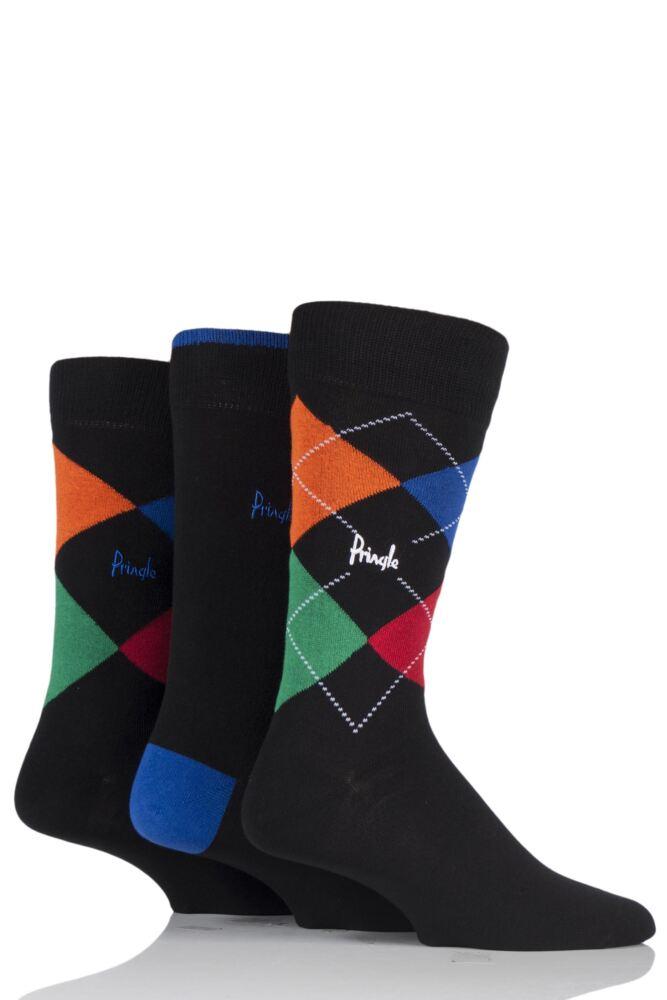 Mens 3 Pair Pringle Waverley Argyle and Plain Cotton Socks In Classic Gift Box