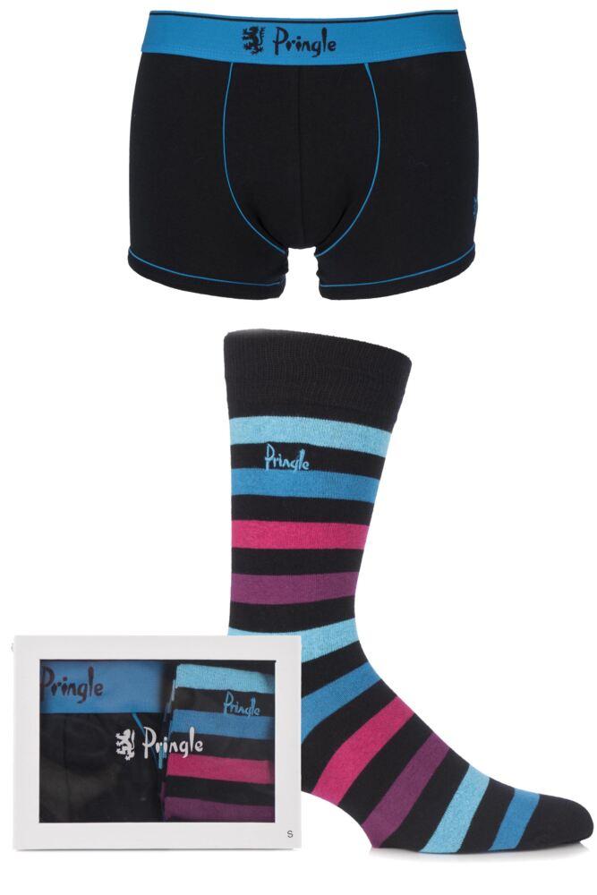 Mens 2 Pack Pringle Gift Boxed Plain Boxer Shorts and Bold Striped Socks