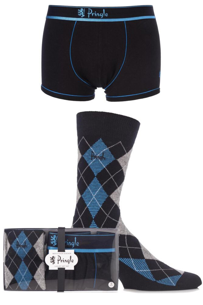 Mens 2 Pack Pringle Gift Boxed Plain Boxer Shorts and Argyle Socks