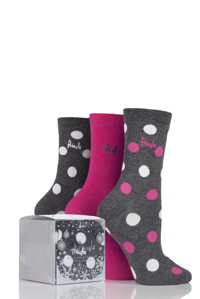 Ladies 3 Pair Pringle Peggy Large Spot and Plain Seasonal Cotton Socks In Gift Box
