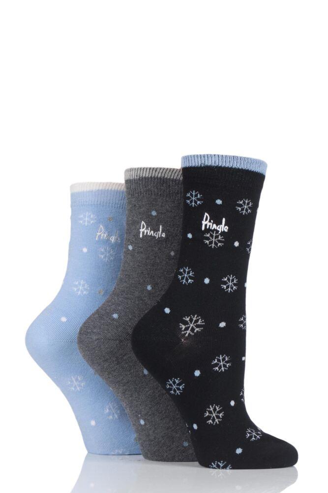 Ladies 3 Pair Pringle Snowflake Christmas Pack Cotton Socks