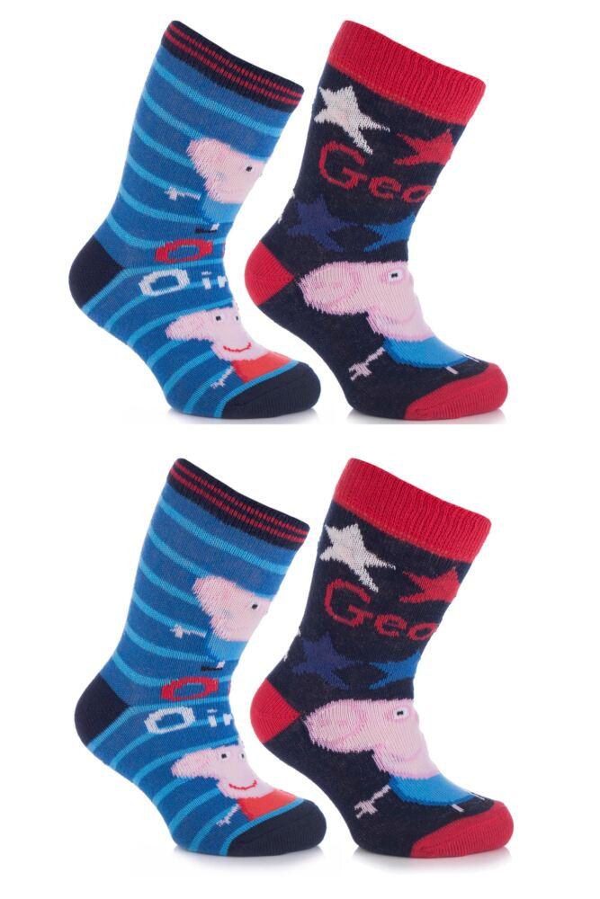 Boys 4 Pair TM Peppa Pig George Ankle Socks