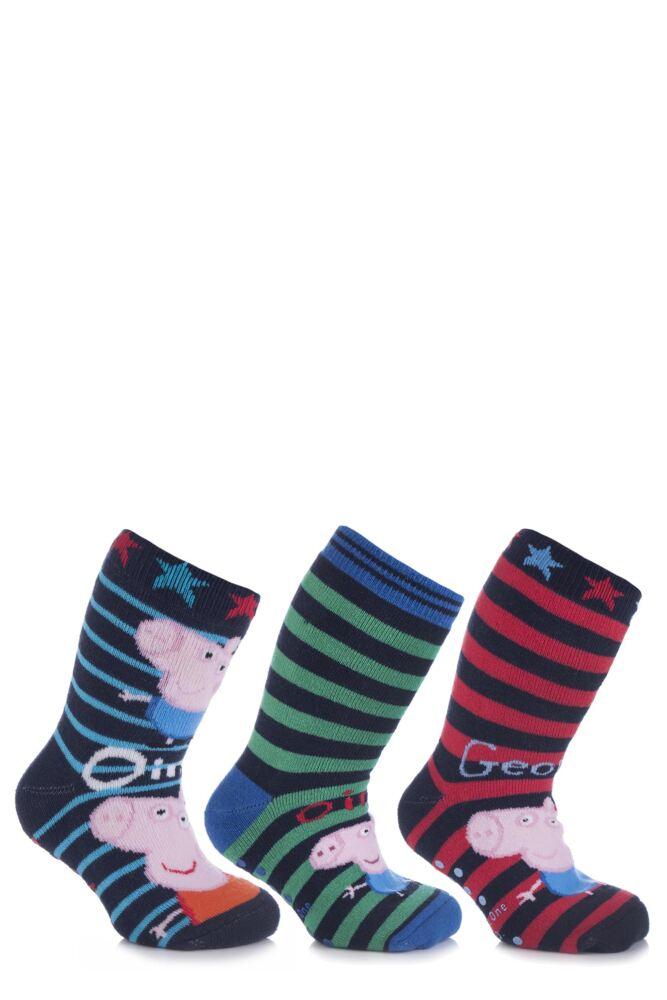 Boys 4 Pair TM Peppa Pig George Slipper Socks