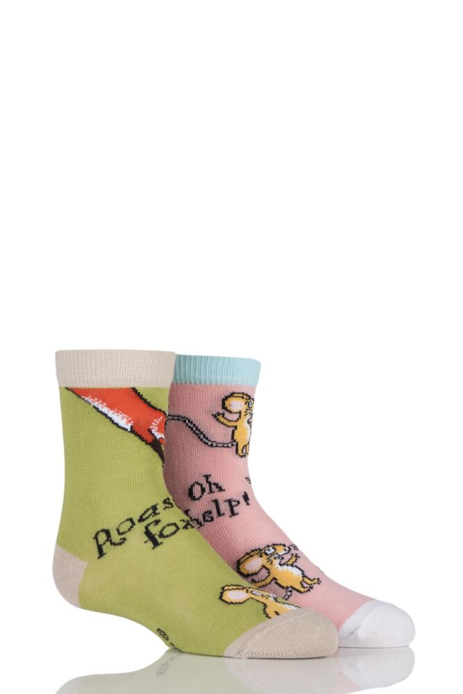 Girls and Boys 2 Pair Gruffalo Pink Mouse Oh Help and Green Owl Ice Cream Socks 25% OFF