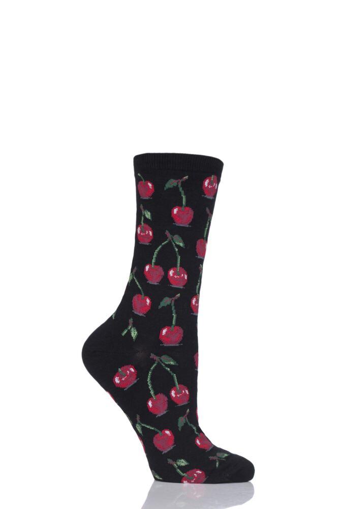 Ladies 1 Pair HotSox Cherries Cotton Socks