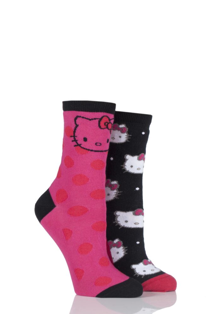 Ladies 2 Pair Pretty Polly Hello Kitty All Over Design and Toe Design Socks