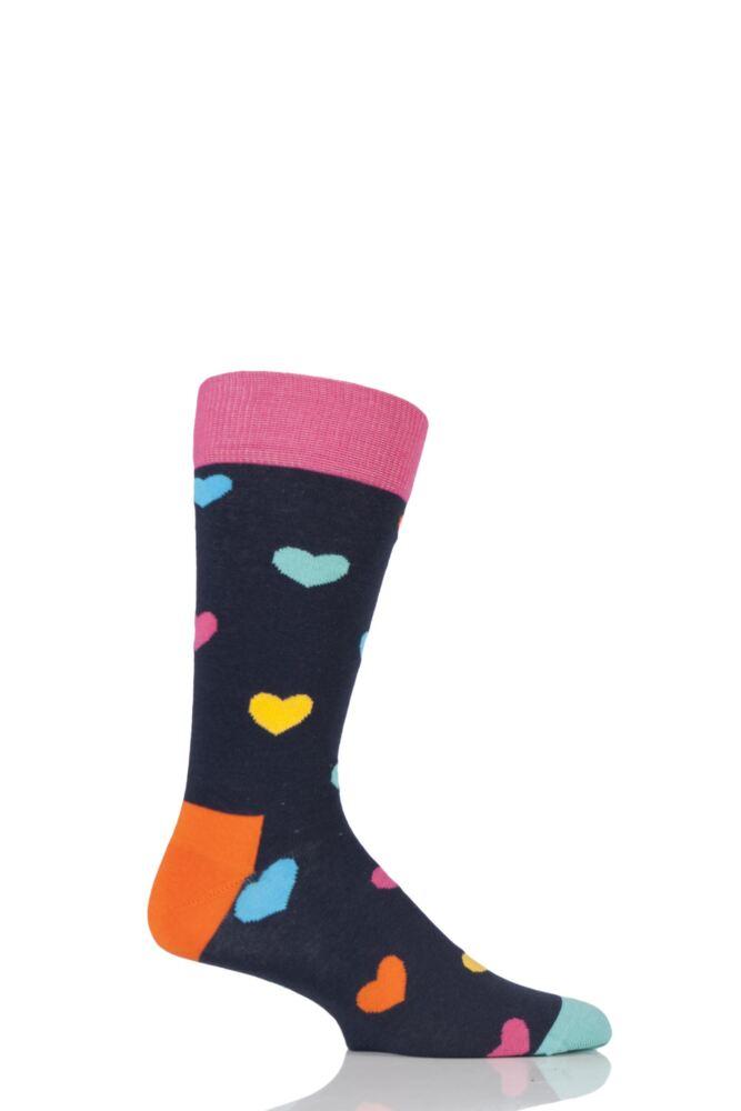 Mens and Ladies 1 Pair Happy Socks Heart Combed Cotton Socks