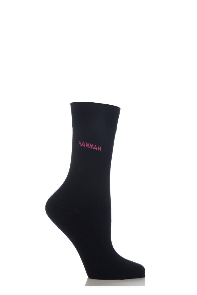 Ladies 1 Pair SockShop Individual Names Black Embroidered Socks - 16 Names To Choose From