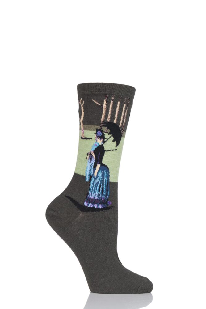 Ladies 1 Pair HotSox Artist Collection A Sunday Afternoon Cotton Socks