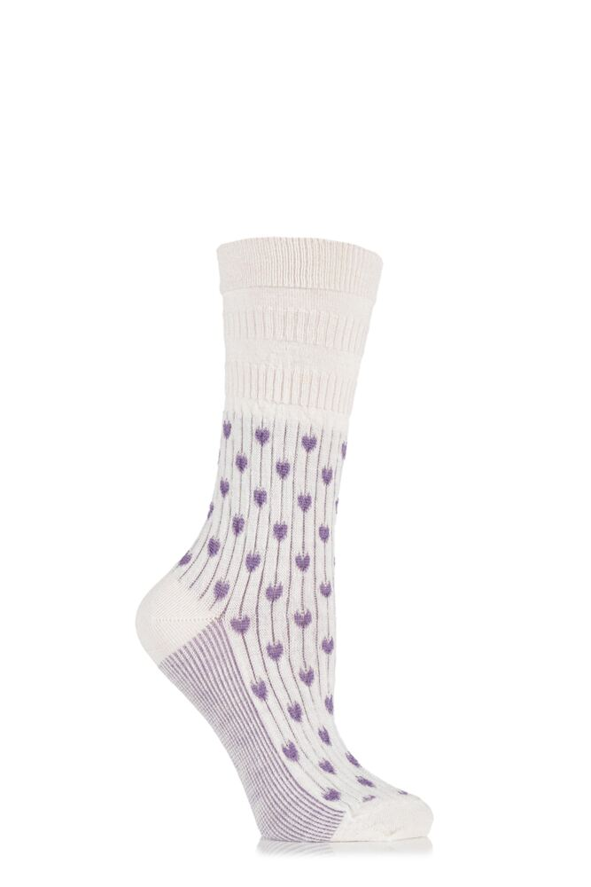 Ladies 1 Pair HJ Hall Heart Patterned Wool Blend Softop Socks