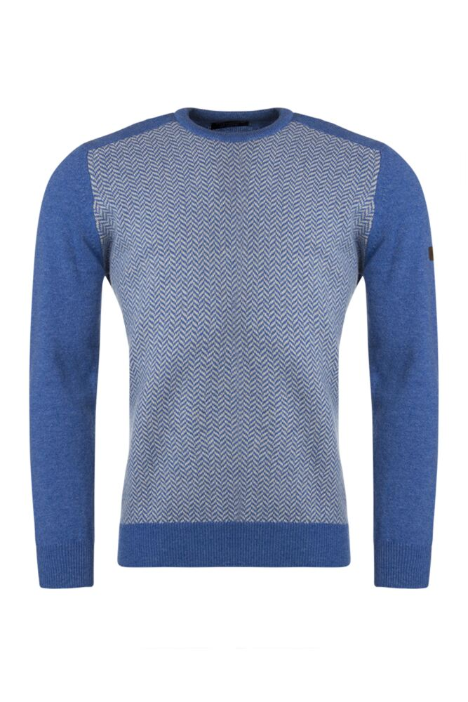 Mens Great & British Knitwear Herringbone Crew Neck Jumper with Harris Tweed Elbow Patches