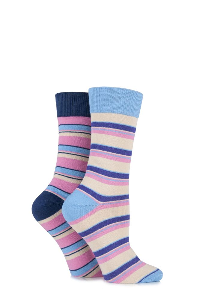 Ladies 2 Pair HJ Hall Boscastle Striped Cotton Socks 25% OFF