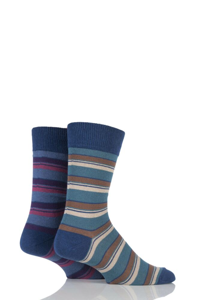 Mens 2 Pair HJ Hall Generation V Cotton Boscastle Striped Socks