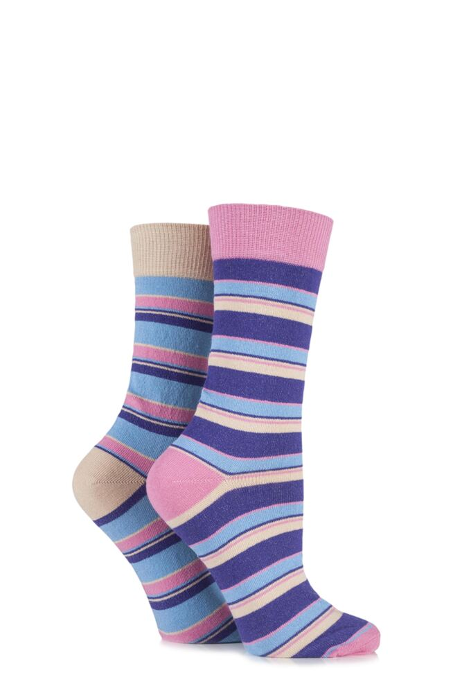 Ladies 2 Pair HJ Hall Boscastle Striped Cotton Socks 33% OFF