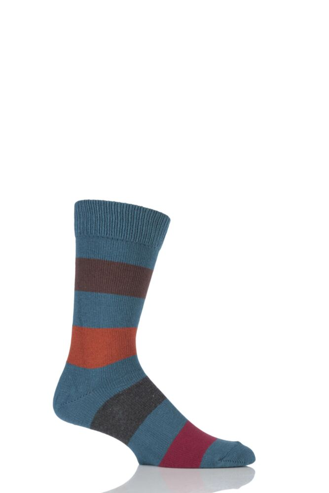 Mens 1 Pair HJ Hall Generation V Chunky Cotton Hayle Striped Socks