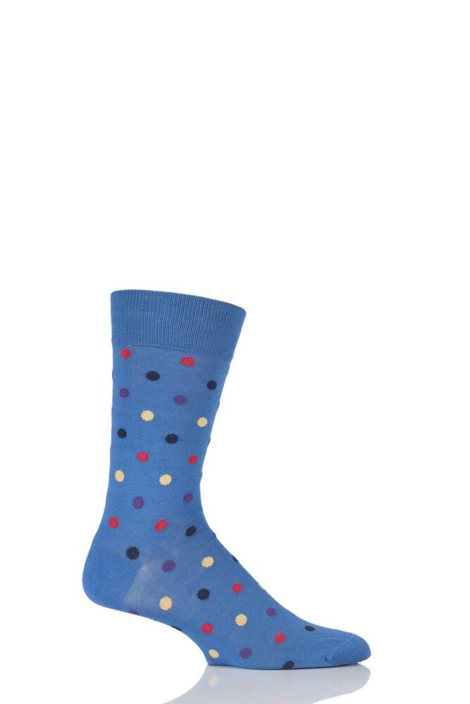 Mens 1 Pair HJ Hall Mercerised Cotton Washington Multi Coloured Spots Socks 25% OFF