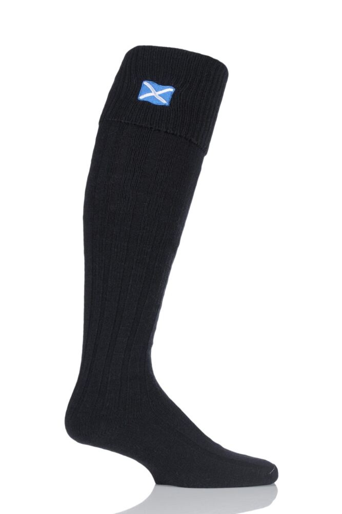 Mens 1 Pair HJ Hall Saltire Scottish Flag Wool Mix Kilt Socks